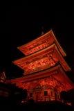 Ight encima de la demostración del laser en el templo del dera del kiyomizu Fotografía de archivo libre de regalías