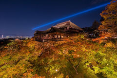 Ight up laser show at kiyomizu dera temple. Kyoto , Japan Royalty Free Stock Photos