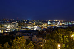 Ight view of the city`s bridges. Budapest. Hungary Royalty Free Stock Image