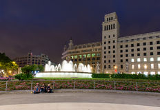 Ight view of Square of Catalonia in Barcelona. Spain Royalty Free Stock Photography