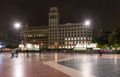 Ight view of Square of Catalonia in Barcelona Stock Image