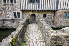 Ightham Mote. A bridge over the moat at Ightham Mote. Located in Kent, England, UK Stock Image
