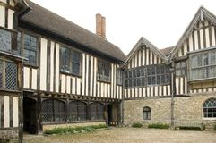 Ightham Mote inner Courtyard. View across the Courtyard to the 16th Century,north face at Ightham Mote Kent England Royalty Free Stock Photo