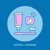 Igiene del dente, spazzolino da denti, dentifricio in pasta Dentista, linea icona di ortodonzia Segno del filo per i denti, eleme Immagine Stock