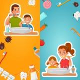 Igiene della famiglia delle insegne di verticale dei denti illustrazione vettoriale