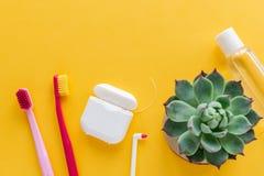 Igiene dentale - spazzolini da denti, filo per i denti, disposizione piana del colluttorio, vista superiore, spazio della copia,  fotografie stock libere da diritti