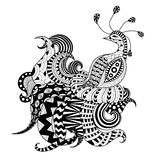 Igital drawing zentangle peacock Royalty Free Stock Images