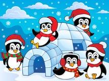 Iglù con il tema 2 dei pinguini Fotografia Stock