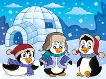 Iglú con el tema 4 de los pingüinos stock de ilustración