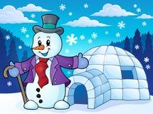 Iglú con el tema 1 del muñeco de nieve stock de ilustración