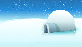 Iglú y fondo helado polar