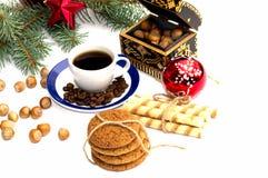 Iglasta gałąź, pieczenie, kawa i nutlets, wciąż życie Obraz Stock