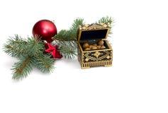 Iglasta gałąź z nowy rok scenerią i otwartym szkatuła dowcipem Obraz Royalty Free