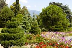 Iglasty park z kwiatu łóżkiem Fotografia Stock