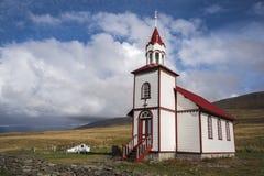 Iglesia al este del ³ kur, Islandia 2 del rkrà del ¡de Sauðà Imagen de archivo libre de regalías
