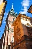 Iglesia alemana vieja en la ciudad vieja de Estocolmo, Suecia imagenes de archivo