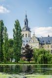 Iglesia antigua de la abadía en el lago con los pájaros Imagen de archivo libre de regalías