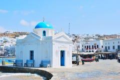Iglesia azul de Mykonos Imagen de archivo libre de regalías