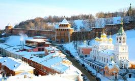 Iglesia baptista y Kremlin de Juan Imágenes de archivo libres de regalías
