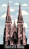 Iglesia católica, arquitectura gótica, iglesia de Kiev Ucrania San Nicolás, vector, rastros, ejemplo, aislado ilustración del vector