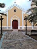 Iglesia Católica de San Juan Bautista, pueblo de San Juan Bautista, Isla de Margarita, Venezuela. Iglesia Católica de San Juan Bautista, vista frontal de la Stock Photo