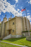 Iglesia católica griega ucraniana de la epifanía contra el cielo azul Rochester, los E.E.U.U. Imágenes de archivo libres de regalías