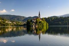 Iglesia católica situada en una isla en Bled Foto de archivo libre de regalías