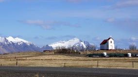 Iglesia cerca de Höfn y de Vatnajokull Fotos de archivo