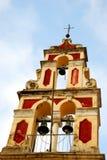 Iglesia cercana para arriba en Corfú, Grecia fotografía de archivo