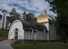 Iglesia, cielo, Ucrania, Zarvanytsia Foto de archivo
