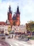 Iglesia clásica de la acuarela en vieja plaza cerca del reloj astronómico de Praga de Praga, República Checa stock de ilustración