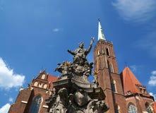 Iglesia colegial de la cruz y del St Bartholomew santos, 'aw de WrocÅ fotografía de archivo libre de regalías