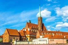 Iglesia colegial de la cruz y del St Bartholomew santos en Wroclaw, Polonia Foto de archivo