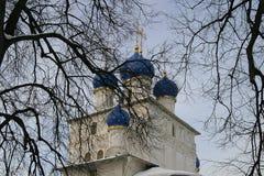 Iglesia con las bóvedas azules, invierno, árboles Fotografía de archivo libre de regalías