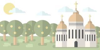 Iglesia con las bóvedas y las cruces contra el contexto de la naturaleza, ejemplo del vector del bosque Religión, bautismo, esper ilustración del vector