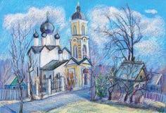 Iglesia con un belltower stock de ilustración