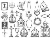 Iglesia cristiana de la religión, biblia, icono de dios, cruz ilustración del vector