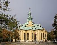 Iglesia cruzada santa en Jelenia Ggora polonia Fotos de archivo