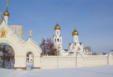 Iglesia de Archistrategos Mikhail en Novosibirsk Imágenes de archivo libres de regalías