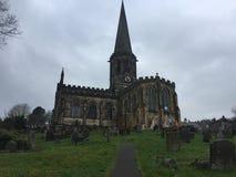 Iglesia de Bakewell con la pintura de la natividad imagenes de archivo