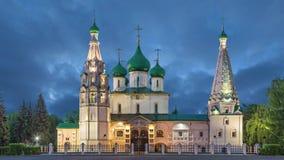 Iglesia de Elías el profeta en la oscuridad en Yaroslavl almacen de video
