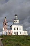 Iglesia de Elijah Prophet en la pena de Ivanova en la curva del río de Kamenka Suzdal Imagen de archivo libre de regalías