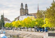 Iglesia de Grossmunster en Zurich Fotografía de archivo libre de regalías