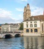 Iglesia de Grossmunster en Zurich Imágenes de archivo libres de regalías