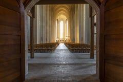 Iglesia de Grundtvig interior con el hombre foto de archivo libre de regalías