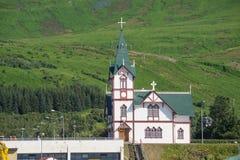 Iglesia de Husavik Imágenes de archivo libres de regalías