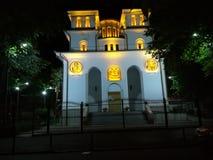 Iglesia de Iancu Vechi Matasari por noche en Bucarest foto de archivo libre de regalías