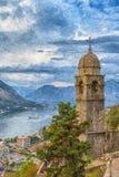 Iglesia de Kotor de nuestra señora Digital Painting fotos de archivo libres de regalías