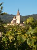 Iglesia de la aldea del vino de Hunawihr Fotografía de archivo