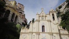 Iglesia de la catedral en ciudad del verano de Mónaco Monte Carlo metrajes